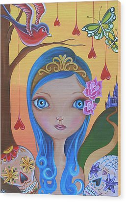 Day Of The Dead Princess Wood Print by Jaz Higgins