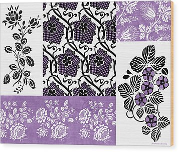 Deco Flower Patchwork 3 Wood Print by JQ Licensing