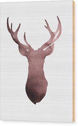 Deer Antlers Silhouette Minimalist Painting Wood Print by Joanna Szmerdt
