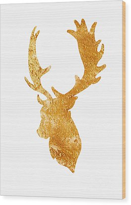 Deer Head Silhouette Drawing Wood Print by Joanna Szmerdt
