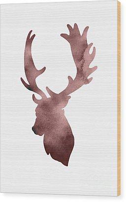 Deer Head Silhouette Minimalist Painting Wood Print by Joanna Szmerdt