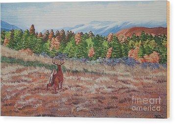 Deer In Fall Wood Print by Charlotte Blanchard