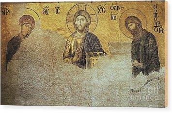 Deesis Mosaic Hagia Sophia-christ Pantocrator-judgement Day Wood Print by Urft Valley Art