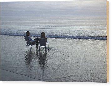 Denmark, Romo, Two Young Women Relaxing Wood Print by Keenpress