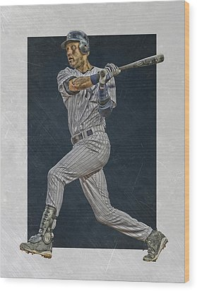 Derek Jeter New York Yankees Art 2 Wood Print by Joe Hamilton