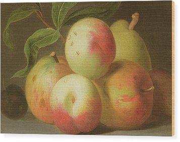 Detail Of Apples On A Shelf Wood Print by Jakob Bogdany