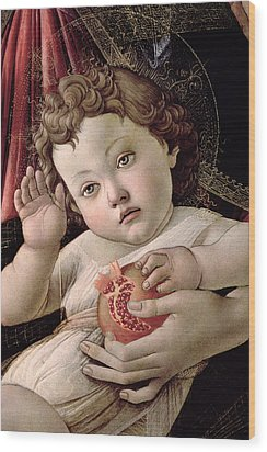 Detail Of The Christ Child From The Madonna Of The Pomegranate  Wood Print by Sandro Botticelli