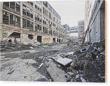 Detroit Abandoned Buildings Wood Print by Joe Gee