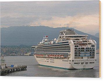 Diamond Princess Leaving Vancouver British Columbia Canada Wood Print by Christine Till