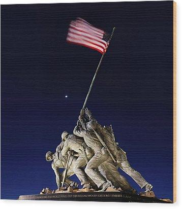 Digital Liquid - Iwo Jima Memorial At Dusk Wood Print by Metro DC Photography