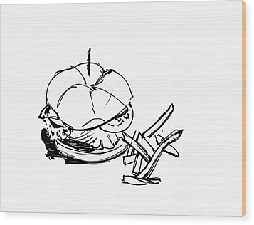 Diner Drawing Charbroiled Chicken 1 Wood Print by Chad Glass
