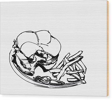 Diner Drawing Charbroiled Chicken 2 Wood Print by Chad Glass