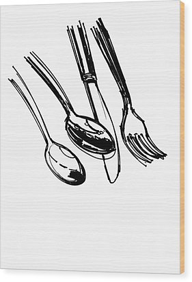Diner Drawing Spoons, Knife, And Fork Wood Print by Chad Glass