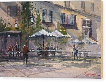 Dining Alfresco Wood Print by Ryan Radke