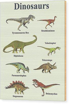 Dinosaurs Collage - Portrait Wood Print by Michael Vigliotti