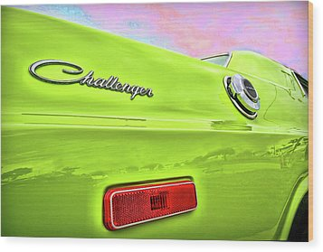 Dodge Challenger In Sublime Green Wood Print by Gordon Dean II