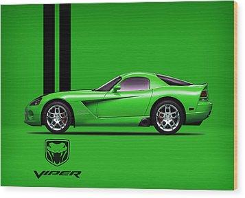 Dodge Viper Snake Green Wood Print by Mark Rogan