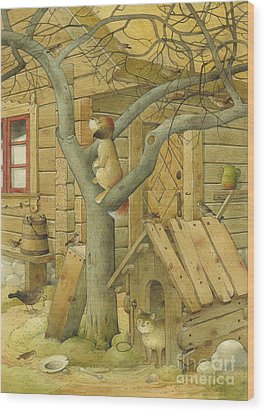 Dog And Cat Wood Print by Kestutis Kasparavicius