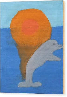 Dolphin At Sunset Wood Print by Melissa Parks