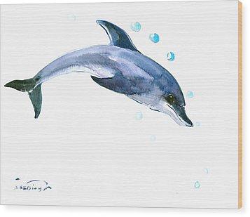 Dolphin Wood Print by Suren Nersisyan