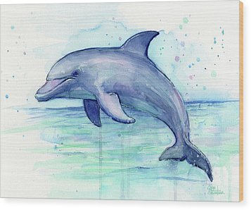 Dolphin Watercolor Wood Print by Olga Shvartsur