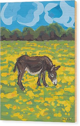 Donkey And Buttercup Field Wood Print by Sarah Gillard
