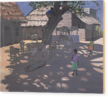 Donkeys Lamu Kenya Wood Print by Andrew Macara