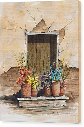 Door With Flower Pots Wood Print by Sam Sidders