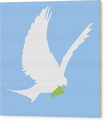 Dove And Olive Branch Wood Print by Colette Scharf
