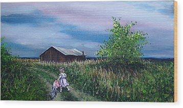 Down The Lane Wood Print by Bill Brown