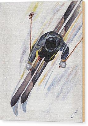 Downhill Skier Wood Print by Robin Wiesneth