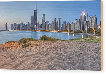 Downtown Chicago From North Beach Wood Print by Twenty Two North Photography