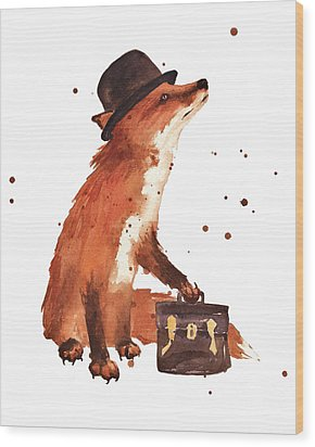 Downtown Fox Wood Print by Alison Fennell