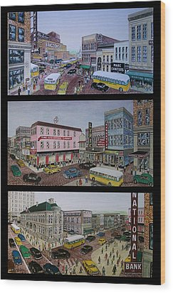 Downtown Portsmouth 1948 Wood Print by Frank Hunter