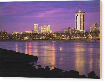 Downtown Tulsa Oklahoma - University Tower View - Purple Skies Wood Print by Gregory Ballos