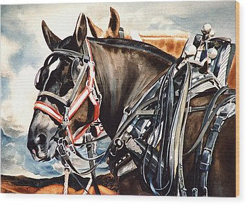 Draft Mules Wood Print by Nadi Spencer