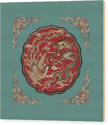 Dragon And Phoenix Wood Print by Kristin Elmquist
