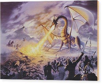 Dragon Battle Wood Print by The Dragon Chronicles - Steve Re