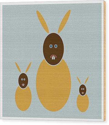 Rabbit Rabbit Rabbit Wood Print by Frank Tschakert