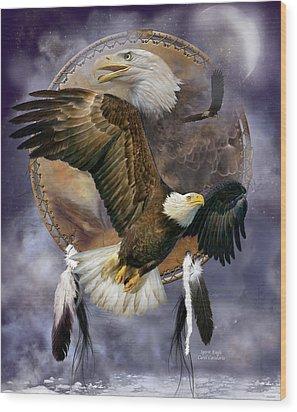Dream Catcher - Spirit Eagle Wood Print by Carol Cavalaris