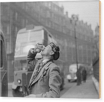 Drinking Beer Wood Print by John Drysdale