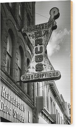 Drug Store Sign Wood Print by Steven Ainsworth