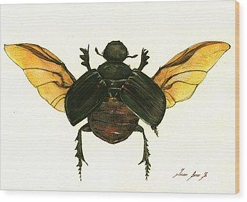 Dung Beetle Wood Print by Juan Bosco