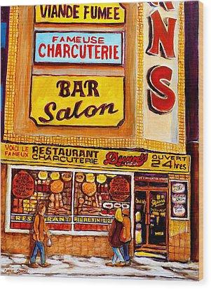 Dunn's Restaurant Montreal Wood Print by Carole Spandau