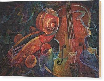 Dynamic Duo - Cello And Scroll Wood Print by Susanne Clark