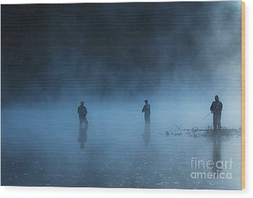 Early Morning Fishing Wood Print by Tamyra Ayles