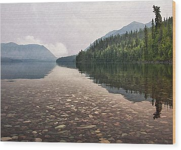 Early Morning On Lake Mcdonald II Wood Print by Sharon Foster