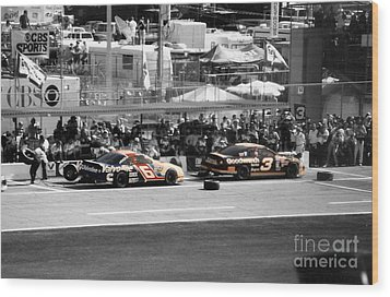 Earnhardt And Martin In The Pits Wood Print by John Black
