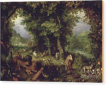 Earth Or The Earthly Paradise Wood Print by Jan the Elder Brueghel