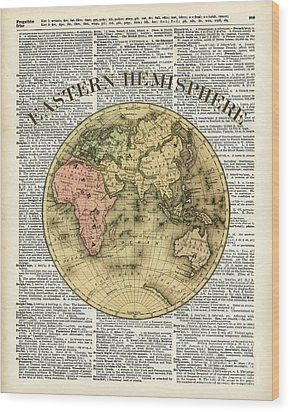 Eastern Hemisphere Earth Map Over Dictionary Page Wood Print by Jacob Kuch